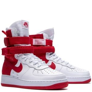 SF AF1 Size 9 Air Force 1 University Red High